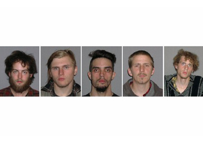 L-R: Connor Stevens, Brandon Baxter, Douglas Wright, Anthony Hayne and Joshua Stafford (AFP Photo / Handout / FBI)