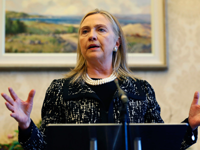 Hillary Clinton speaks during a news conference at Stormont Castle in Belfast December 7, 2012 (Reuters / Kevin Lamarque)