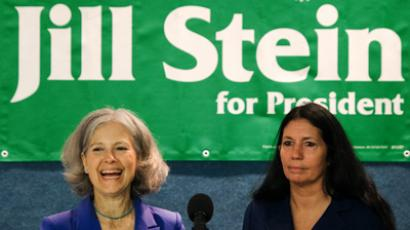 US Green Party Presidential Candidate Dr. Jill Stein(L) embraces Cheri Honkala after announcing her as the Green Party vice-presidential choice  (AFP Photo / Paul J. Richards )