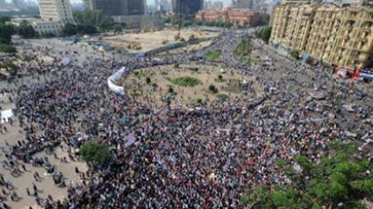 Thousands of Egyptian protesters gather at Cairo's iconic Tahrir Square on September 9, 2011 to take part in a mass rally calling for reforms as the ruling military warned it would respond harshly to any violence by activists (AFP Photo / Mohamed Hossam)