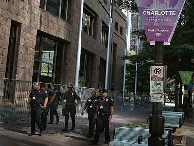 Police patrol the Uptown area before the start of the Democratic National Convention September 1, 2012 in Charlotte, North Carolina. (Scott Olson/Getty Images/AFP)
