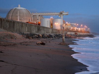 Ocean waves come ashore near the San Onofre Nuclear Generating Station along San Onofre State Beach on March 15, 2012 south of San Clemente, California. (David McNew/Getty Images/AFP)
