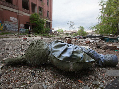 A stuffed animal on the ground at the Packard Automotive Plant a former car manufacturing factory in Detroit, Michigan (AFP Photo / Getty Images)