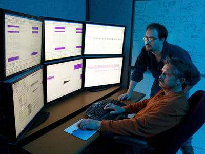 Department of Homeland Security (DHS) researchers use advanced modeling and simulation equipment as they work on the DHS Control Systems Security Program (CSSP) in this handout photo taken April 28, 2010 at the Idaho National Laboratory in Idaho Falls, Idaho (Reuters/Chris Morgan/Idaho National Laboratory)