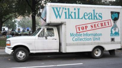 A truck bearing the WikiLeaks logo, belonging to an Occupy DC demonstrator, is parked on the street near a makeshift camp in McPherson Square October 9, 2011 in Washington, DC (AFP Photo / Karen Bleier)