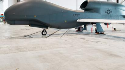 One of several the US Navy's Northrop Grumman MQ04C Broad Area Maritime Surveillance(BAMS) Unmanned Aircraft Systems(UAS) is seen in a hangar July 31, 2012 at Naval Air Station Patuxent River, Maryland. (AFP Photo/Paul J. Richards)