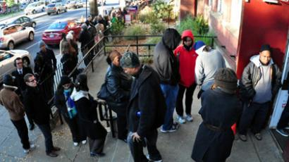 A long line of voters is seen outside Mt.Bethel Baptist Church in Washington, DC on November 6, 2012. (AFP Photo / Eva Hambach)