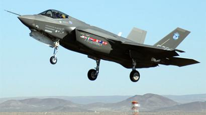 An F-35 Joint Strike Fighter, marked AA-1, lands Oct. 23 at Edwards Air Force Base, Calif. (http://www.af.mil)