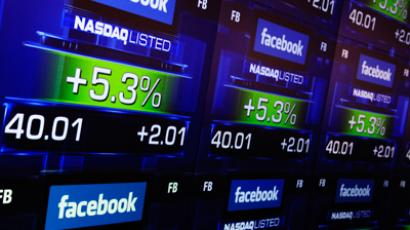 Facebook's share prices are seen inside the NASDAQ Marketsite in New York May 18, 2012 (Reuters/Shannon Stapleton)