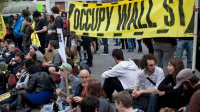 Occupy Wall Street protesters protest in Union Square. (AFP Photo / Andrew Burton)