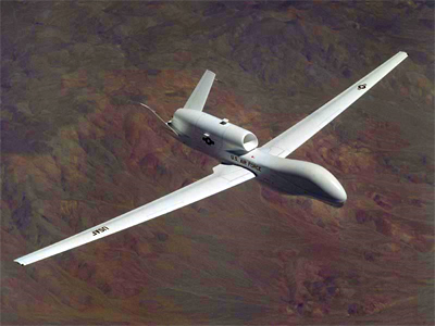 United States Air Force Global Hawk un-manned reconnaissance aircraft. (Photo from http://www.af.mil)