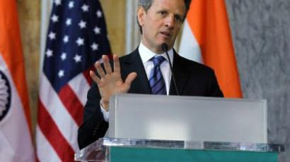 Secretary of the Treasury Timothy Geithner speaks during a closing news conference with Indian Finance Minister Pranab Mukherjee June 28, 2011 at the Department of the Treasury in Washington, DC.  (Alex Wong/Getty Images/AFP )