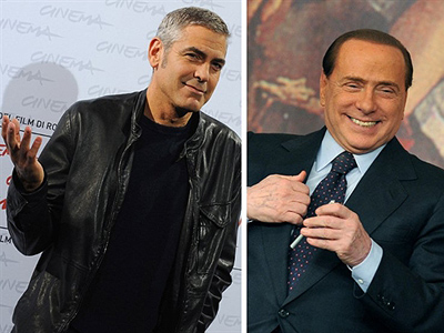 "Italy, Rome: This combo image made of two file pictures taken in Rome --but not taken the same day-- shows (L) US actor George Clooney and (R) Italian Prime Minister Silvio Berlusconi. A lawyer close to the ""Ruby the Heart Stealer"" case told AFP on March 29, 2011 that Clooney could testify in Italian Prime Minister Silvio Berlusconi's defence in his upcoming sex trial. (AFP Photo / Alberto Pizzoli / Andreas Solaro)"