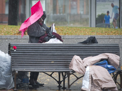 Nowhere to run: Homeless battle elements as Superstorm Sandy hits