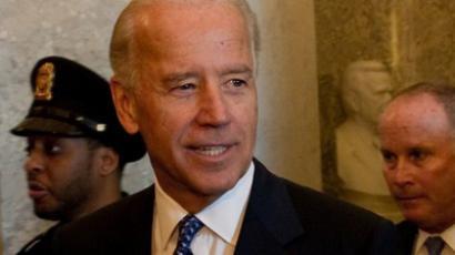 US Vice President Joe Biden arrives to meet with Democratic senators at the Capitol in Washington,DC on August 1, 2011 (AFP Photo / Nicholas Kamm)
