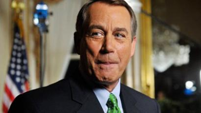 US Speaker of the House of Representative John Boehner speaks with a television crew at the Capitol in Washington on July 25, 2011 (AFP Photo / Nicholas Kamm)