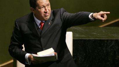 Venezuelan President Hugo Chavez points after addressing the 61st session of the United Nations General Assembly in New York 20 September 2006 (AFP Photo / Timothy A. Clary)