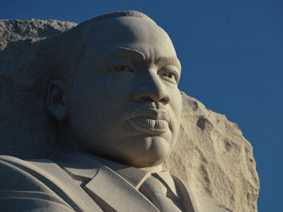 "The ""Stone of Hope"" sculpture of Martin Luther King by Chinese artist Lei Yixin is open to the public on August 22, 2011 at the Martin Luther King Jr. Memorial in Washington, DC (AFP Photo)"