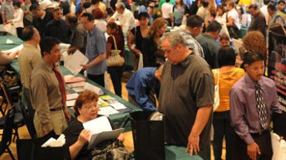 Unemployed Americans attend a job fair on the first day of the Labor Day long weekend in the City of El Monte outside of Los Angeles.(AFP Photo / Mark Ralston)