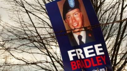 A sign left by protesters calling for the release of US Army Private First Class Bradley Manning (AFP Photo / Paul J. Richards)