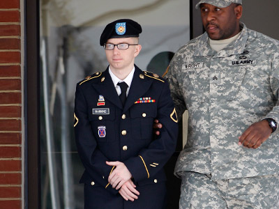 Army Pfc. Bradley Manning leaves the courthouse after his motion hearing at Fort Meade in Maryland (REUTERS/Jose Luis Magaua)