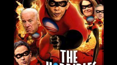 "US president Obama's head superimposed on an ""Incredibles"" movie poster. Taken from Armed Forces Tea Party Facebook page."