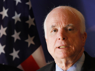U.S. Senator John McCain speaks during a news conference in Tripoli February 22, 2012 (Reuters / Anis Mili)