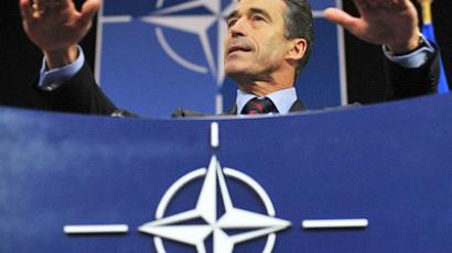 NATO Secretary General Anders Fogh Rasmussen speaks at a press conference
