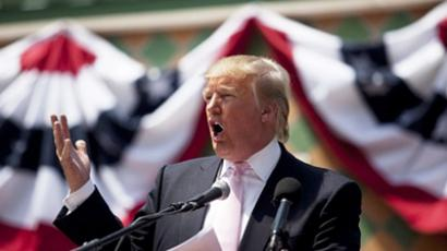 Billionaire Donald Trump speaks to a crowd at the 2011 Palm Beach County Tax Day Tea Party on April 16, 2011 at Sanborn Square in Boca Raton, Florida (AFP Photo / John W. Adkisson)