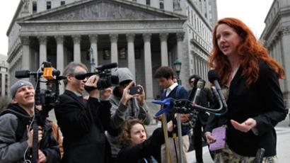"Plaintiff Jennifer ""Tangerine"" Bolen speaks to reporters during a news conference outside the Federal Court in Manhattan March 29, 2012 (Reuters / Mike Segar)"