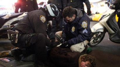 An Occupy Wall Street activist is arrested during a demonstration on December 17, 2011 in New York City (Allison Joyce / Getty Images / AFP)