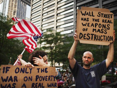 New York: Demonstrators opposed to corporate profits on Wall Street march in the Financial District on September 26, 2011 New York City. (Spencer Platt/Getty Images/AFP )