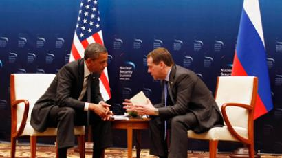 U.S. President Barack Obama (L) talks with Russian President Dmitry Medvedev in a bilateral meeting before attending the 2012 Nuclear Security Summit in Seoul March 26, 2012 (Reuters / Larry Downing)