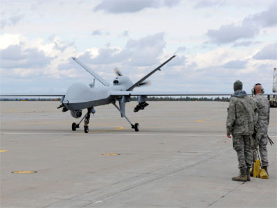 A U.S. Air Force MQ-9 Reaper unmanned aerial vehicle assigned to the 174th Fighter Wing prepares to take off from Wheeler-Sack Army Airfield at Fort Drum, N.Y. in this October 18, 2011 USAF handout photo obtained by Reuters February 6, 2013.(Reuters / Ricky Best)