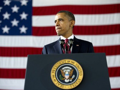 Fort Bragg : US President Barack Obama delivers remarks to troops and military families at Fort Bragg, NC, December 14, 2011.(AFP Photo/Jim Watson)