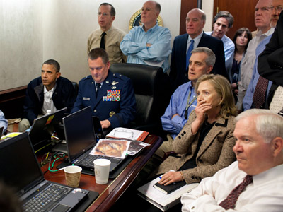 This official White House photograph made available May 2, 2011 shows US President Barack Obama (2nd L) and Vice President Joe Biden (L), US Secretray of Defense Robert Gates (R) and US Secretary of State Hillary Clinton (2nd R) along with members of the national security team, as they receive an update on the mission against Osama bin Laden in the Situation Room of the White House, in Washington, DC on May 1, 2011. Please note: a classified document seen in this photograph has been obscured. (AFP Photo/Official White House Photo by Pete Souza