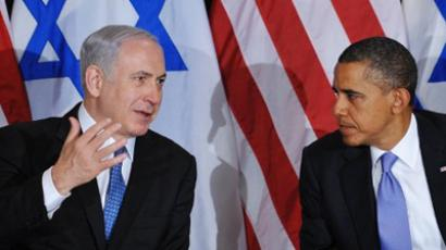 Israeli Prime Minister Benjamin Netanyahu speaks  with US President Barack Obama (AFP Photo / Mandel Ngan)