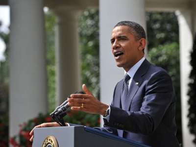 US President Barack Obama speaks in the Rose Garden at the White House in Washington (AFP Photo / Nicholas KAMM)