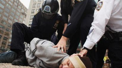 A man is arrested as police clear the private park next to Juan Pablo Duarte square of Occupy Wall Street protesters following their early morning eviction from Zuccotti Park on November 15, 2011 (Spencer Platt / Getty Images / AFP)