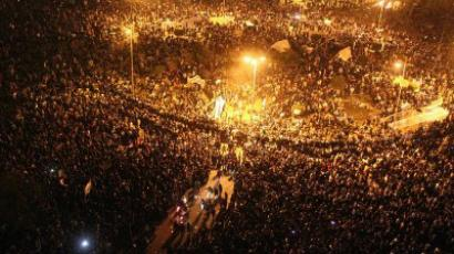 Thousands of Egyptians protesters gather in Tahrir square in Cairo on November 21, 2011. (AFP Photo/ Mahmud Khaled)