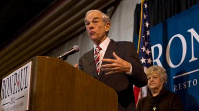 Republican presidential candidate Ron Paul (R-TX) speaks during a campaign stop at Eagle Aviation in West Columbia, South Carolina January 11, 2012 (Reuters / Chris Keane)