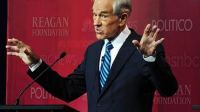 Republican presidential hopeful and U.S. Representative Ron Paul (R-TX) speaks during the Republican Presidential Candidates debate at the Ronald Reagan Presidential Library September 7, 2011 in Simi Valley, California (AFP Photo / Getty Images)