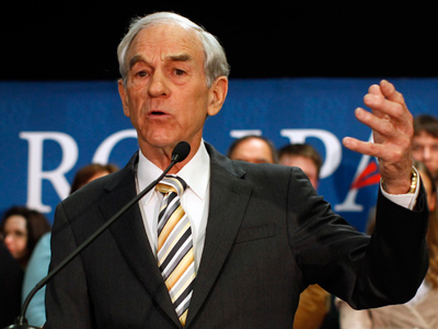 Republican presidential candidate U.S. Representative Ron Paul (R-TX) addresses supporters at his Maine caucus night rally in Portland, Maine February 11, 2012 (Reuters / Brian Snyder)