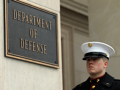 A United States Marine stands by his post in front of the Pentagon in Washington (Reuters/Gary Cameron)
