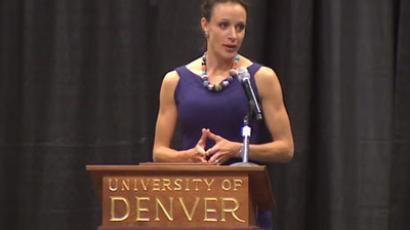 Paula Broadwell.(Screenshot from YouTube user uofdenver)