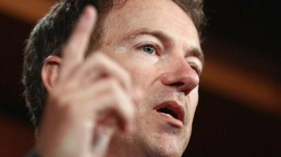 United States, Washington:  U.S. Sen. Rand Paul speaks during a press conference with fellow Republicans on objecting to a scheduled U.S. Senate recess next week June 29, 2011 in Washington, DC. (AFP Photo / Win McNamee)