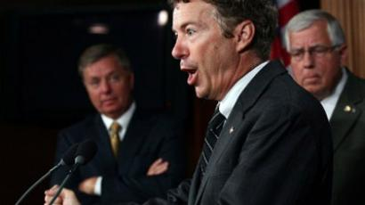 Sen. Rand Paul (R-KY) (C) speaks during a press conference with fellow U.S. Senate Republicans (L-R) Sen Lindsay Graham (R-SC) and Sen. Mike Enzi (R-WY) on National Labor Relations Board regulations on Capitol Hill September 14, 2011 in Washington, DC. (Win McNamee/Getty Images/AFP )