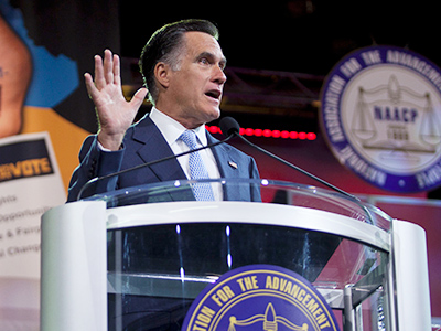 Republican presidential candidate Mitt Romney speaks at the NAACP convention in Houston July 11, 2012 (Reuters/Richard Carson)