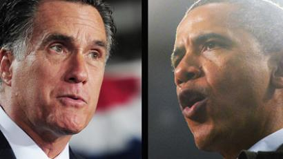 This combination of two photos shows US Republican Presidential candidate Mitt Romney (R) at a rally in West Allis, Wisconsin and US President Barack Obama (L) speaking at campaign rally at Springfield High School in Springfield, Ohio, on November 2, 2012. (AFP Photo/Emmanuel Dunand (L) / Jewel Samad (R))