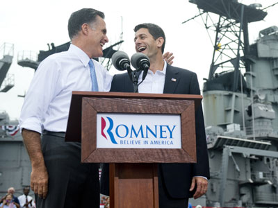 US Republican presidential candidate and former Massachusetts Governor Mitt Romney announces Wisconsin Representative Paul Ryan(R) as his vice presidential running mate during a campaign rally at the Nauticus Museum after touring the USS Wisconsin.(AFP Photo / Saul Loeb)